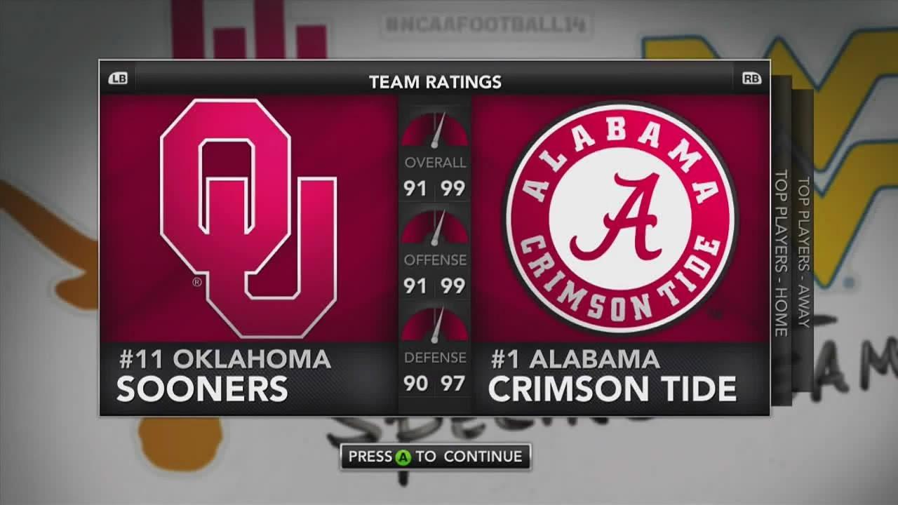 NCAA Football 14 Sim: Sugar Bowl - Alabama vs Oklahoma ...