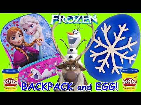 SURPRISE TOY & EGG BACKPACK TIME! Disney Frozen Book Bag Play Doh Surprise Egg Toys