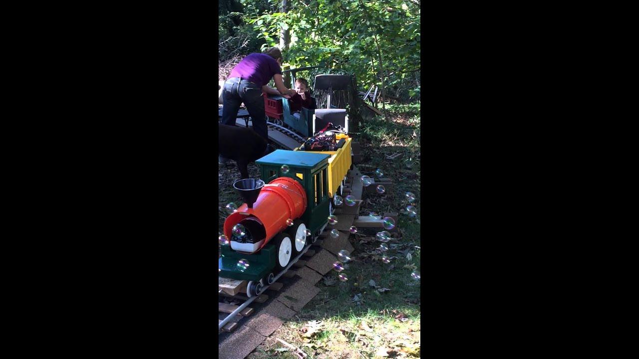 Ride on backyard railroad - YouTube