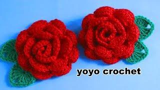 ورد كروشية / وردة كروشيه جميلة وسهلة + ورقة شجر بسيطة -crochet flower#يويو كروشية#