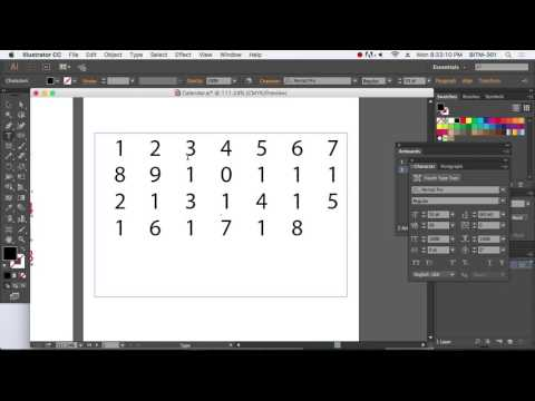 Calendar date on adobe illustrator 2017