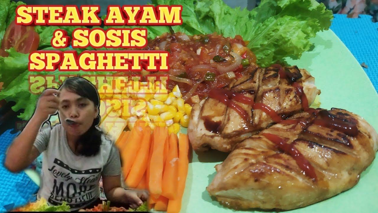 Cara Memasak Steak Ayam & Sosis Spaghetti Ala Anak Kost!!! Murah Meriah!!! - YouTube