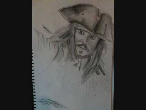 Drawing Captain Jack Sparrow and The Mad Hatter pencil