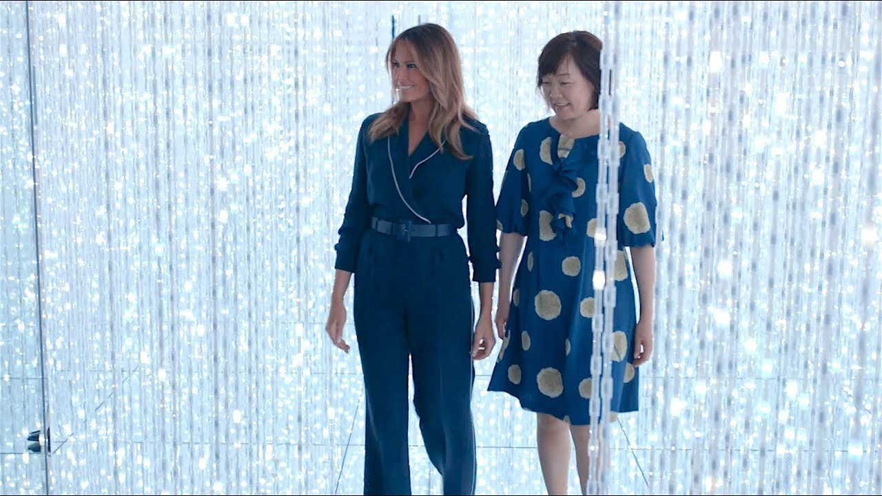 The White House - First Lady Melania Trump and Mrs. Akie Abe Visit Digital Art Museum in Tokyo