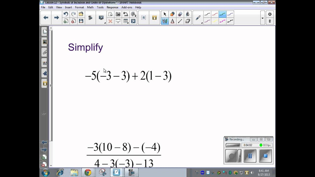 Lesson 12 Symbols Of Inclusion And Order Of Operations Youtube