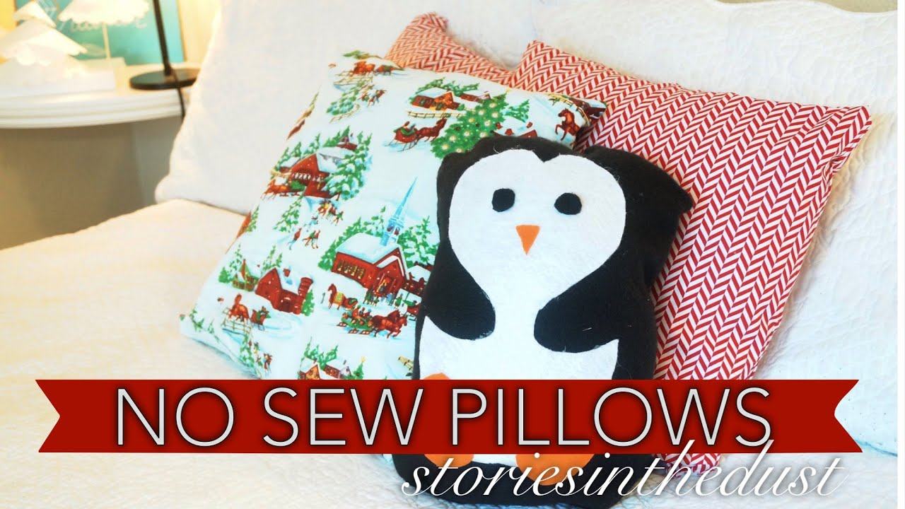 No Sew Christmas Pillows Storiesinthedust Youtube
