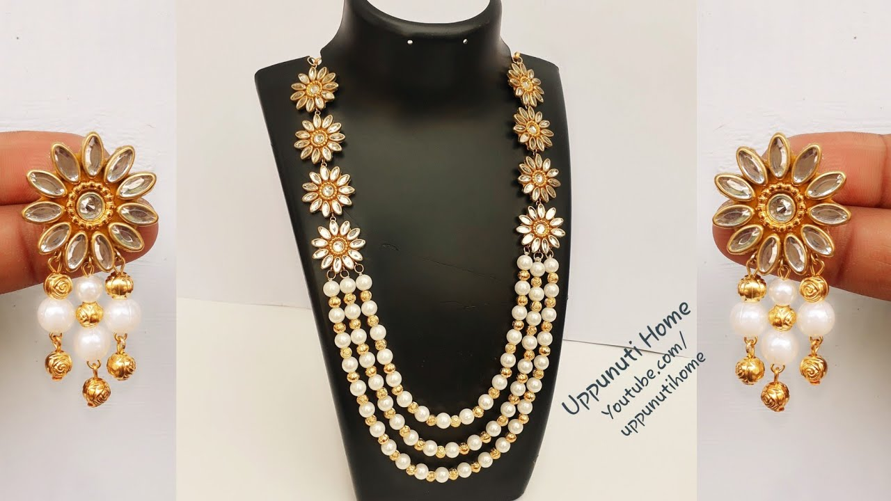 161a9024d How To Make Beautiful Pearl Necklace At Home | DIY | Making Pearl ...