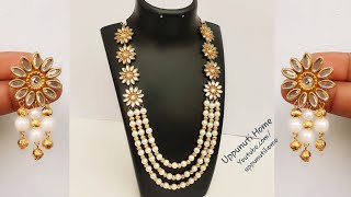 How To Make Beautiful Pearl Necklace At Home | DIY | Making Pearl Earrings | Silk Thread Necklace