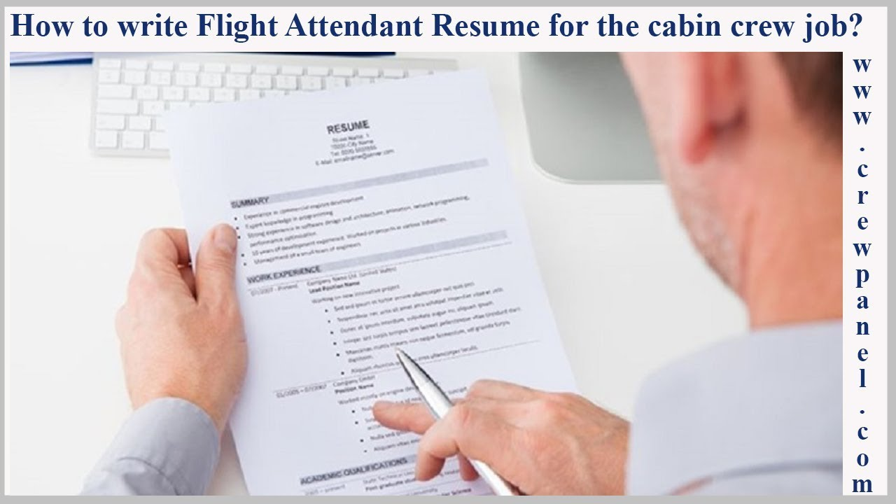 How to write flight attendant resume for the cabin crew job position ...