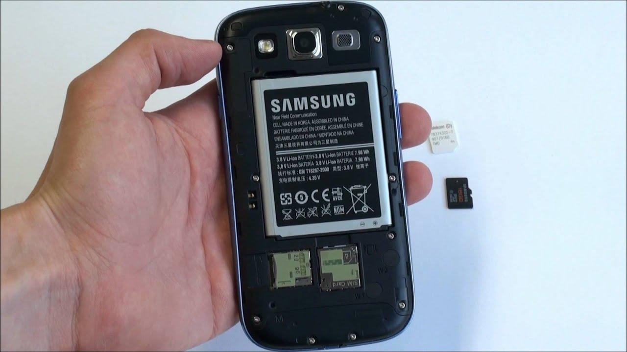 Samsung S3 Mini Sim Karte.Samsung Galaxy S3 Microsim Und Microsdhc Karte Einbauen Anleitung