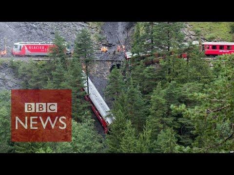 Swiss train derailed in landslide - BBC News