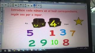 Recurso Matemáticas -Números pares e impares- para PDI, 1ºciclo de Primaria.