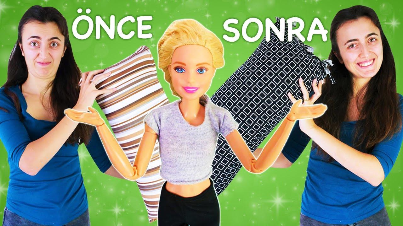 Barbie ile kız videoları. Sevcan Barbie için eski yırtık eşofmandan yastık kılıfı yapıyor