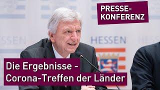 Nach dem gespräch der ministerpräsident*innen länder und bundeskanzlerin angela merkel zu weiteren corona-maßnahmen stellt hessische ministerpräside...