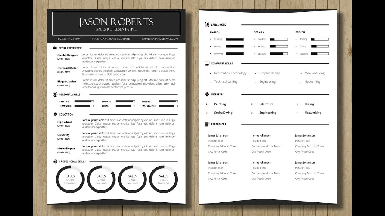 Customizable Resume Cv Template Made In Ms Word Youtube