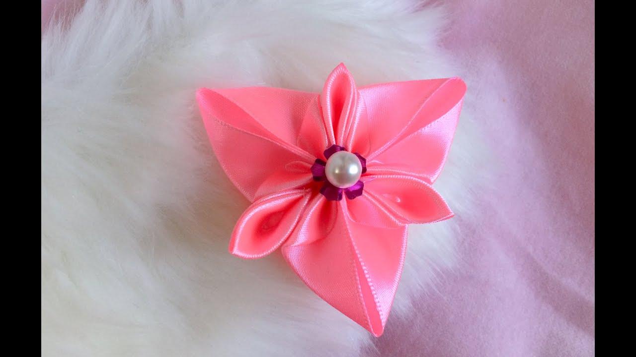 diy  how to make a kanzashi ribbon flower