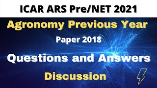 ICAR ARS PRE/NET 2018 Agronomy paper discussion| Memory based questions with answers
