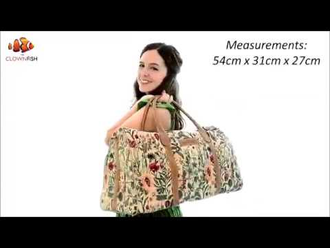 The Clownfish Blomster Tapestry Duffle Bags Travel Bag Weekender Bag (Flax)