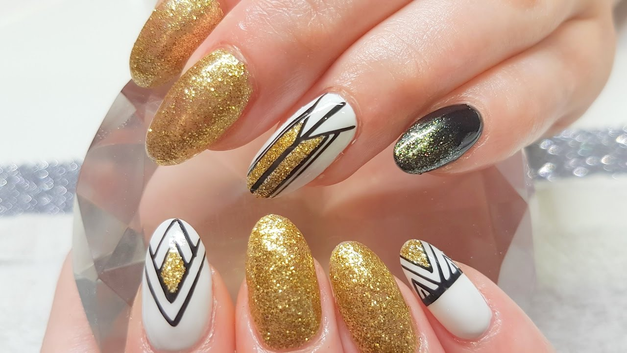 Acylic Nails Gel Polish Gold White & Black Design - YouTube