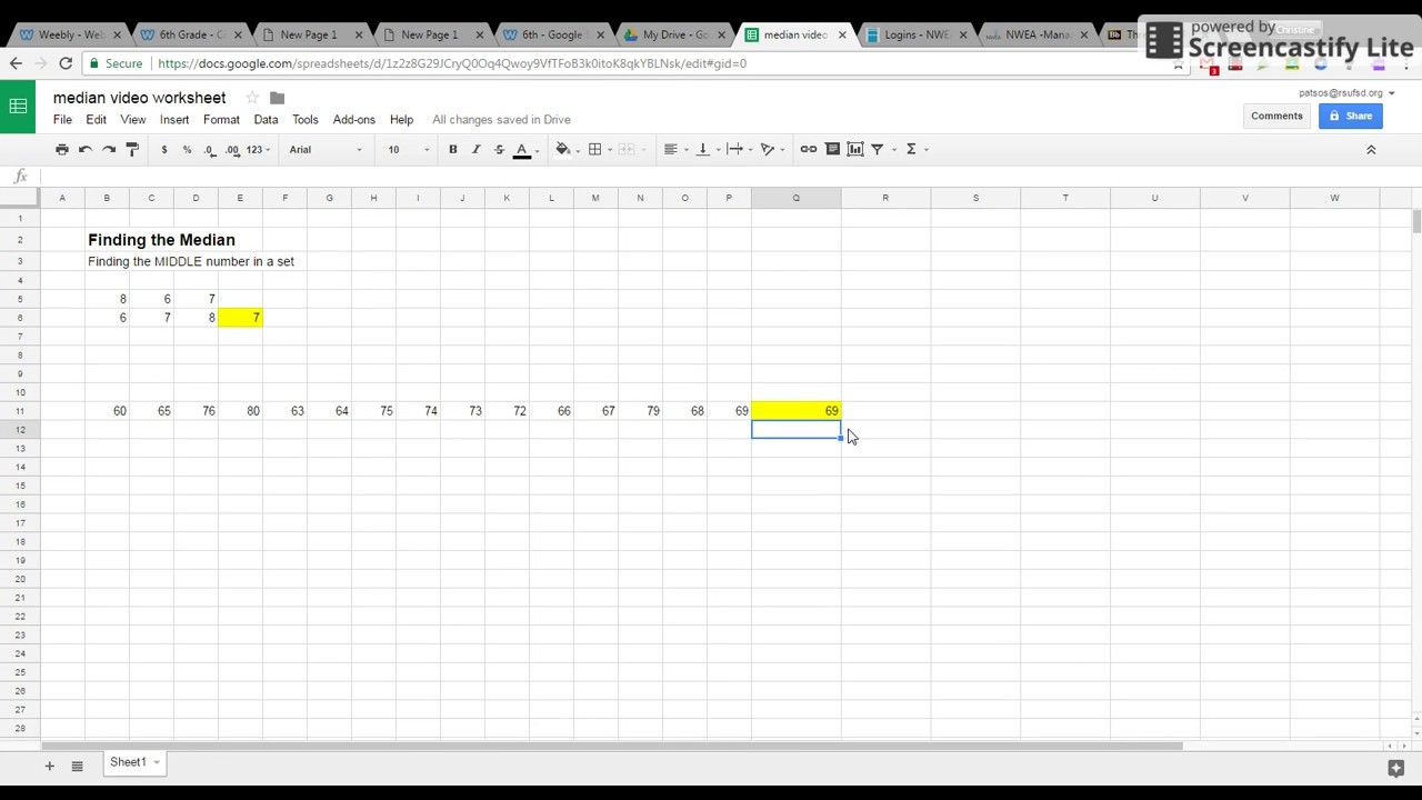 Median Using Google Sheets Calculating