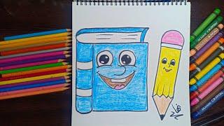 تعلم طريقة رسم كتاب وقلم مع الخطوات رسومات سهلة رسومات للمبتدئين Youtube