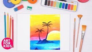 ➤Dạy vẽ tranh phong cảnh Hoàng hôn trên bãi biển cho bé | Dạy bé vẽ | Drawing and Coloring Landscape