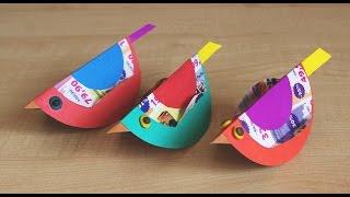 Птичка качалка. Поделки из бумаги и картона для детей своими руками.