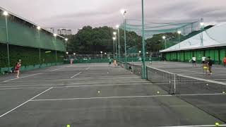 Anna sparring at Polo Club after-school tennis