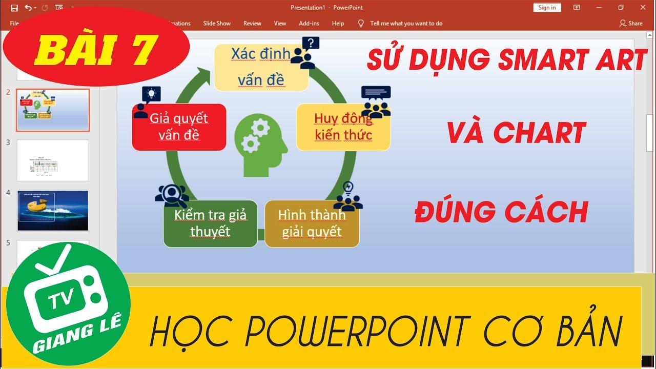 [HỌC POWERPOINT CƠ BẢN] Bài 7 Cách sử dụng smart art và chart (biểu đồ)trong powerpont