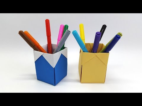How to make Pencil Holder - Paper Pencil Holder (Origami Pen Holder)