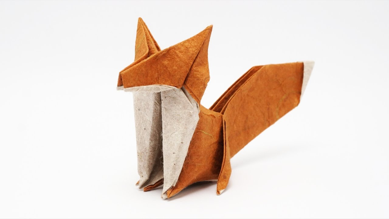 hight resolution of 3d origami fox diagram