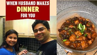 DAILY INDIAN DINNER ROUTINE 2018 IN HINDI || HUSBAND COOKING DINNER || HUSBAND COOKING FOR WIFE