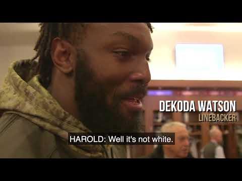 Dekoda Watson pokes fun at Eli Harold's shirt during interview