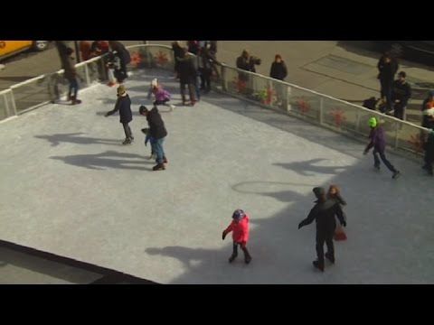 Standard Hotel Outdoor Ice Skating Rink In New York's Meatpacking District