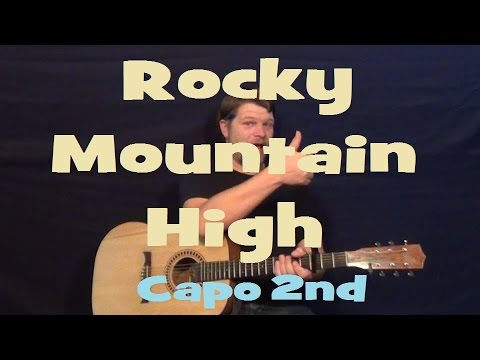Rocky Mountain High (John Denver) Guitar Lesson Easy Strum Chords How to Play Tutorial - Capo 2nd
