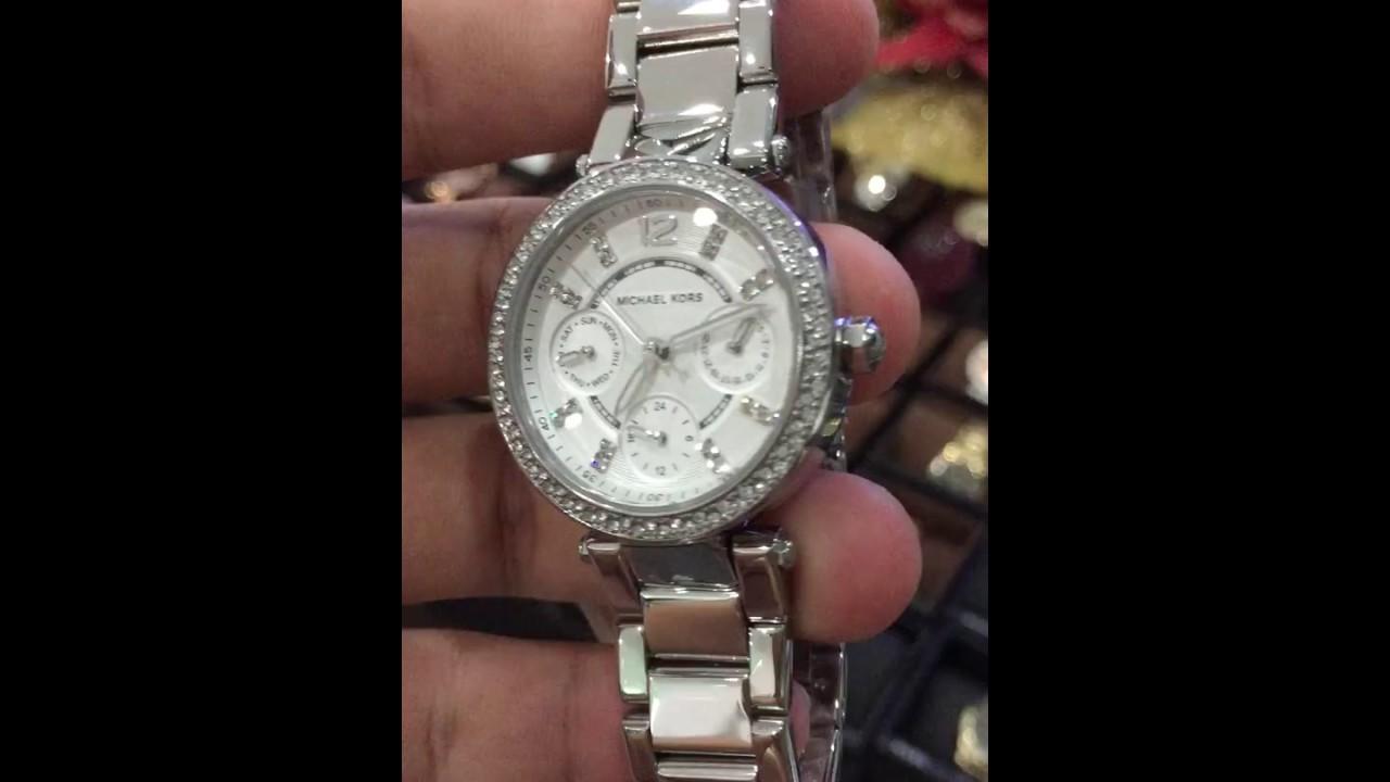 2a8e0763f836 Michael Kors Women s Chronograph Mini Parker Stainless Steel Bracelet Watch  33mm MK5615