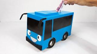 Cara membuat celengan bus tayo dari kardus