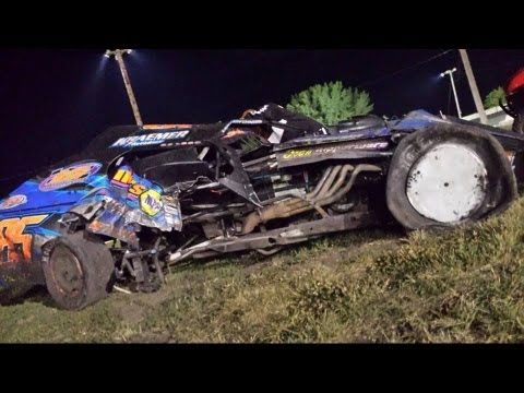 Dustin Smith rolls his IMCA Modified at Algona Raceway. 7 20 13