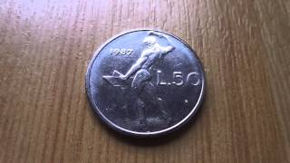 50 Lira coin of Italy - Repvbblica Italiana in HD
