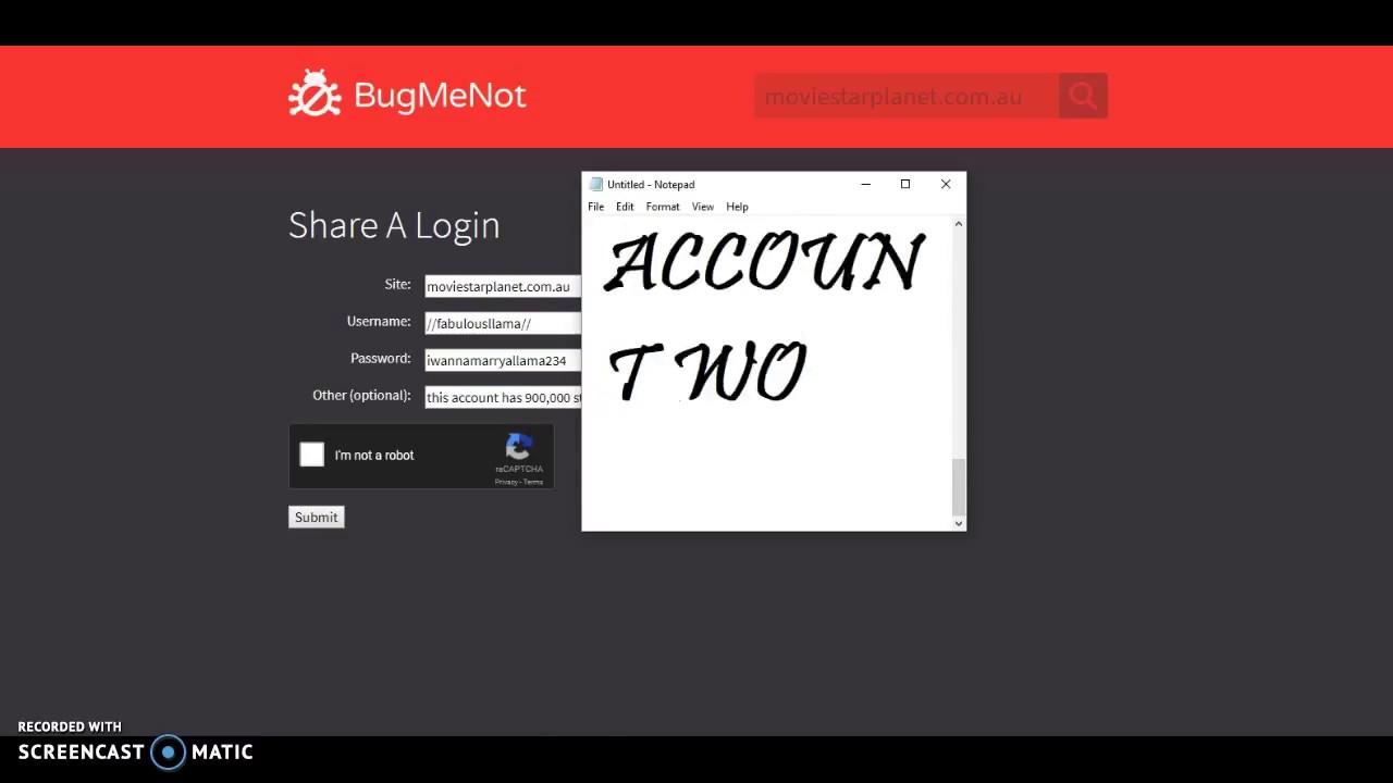 Registering a Fake Account on BugMeNot !