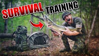 Übernachtung im 1-Mann Militär Zelt + Hecht filetieren - BIWAK Survival Training | Fritz Meinecke