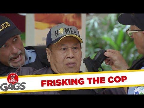 Cop Frisks Cop And Finds Naked Gun!