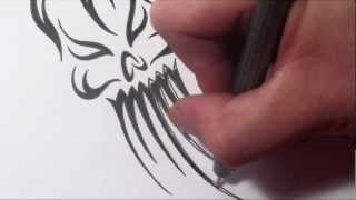 How To Draw an Evil Tribal Skull Ghost Tattoo Design