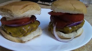 Grass fed burgers on the Rec Tec Mini