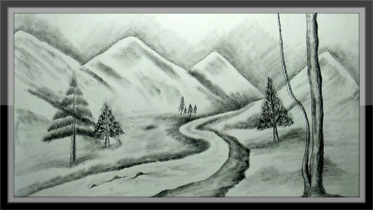 Pencil Drawing Mountain Landscape Scenery Step By step ...