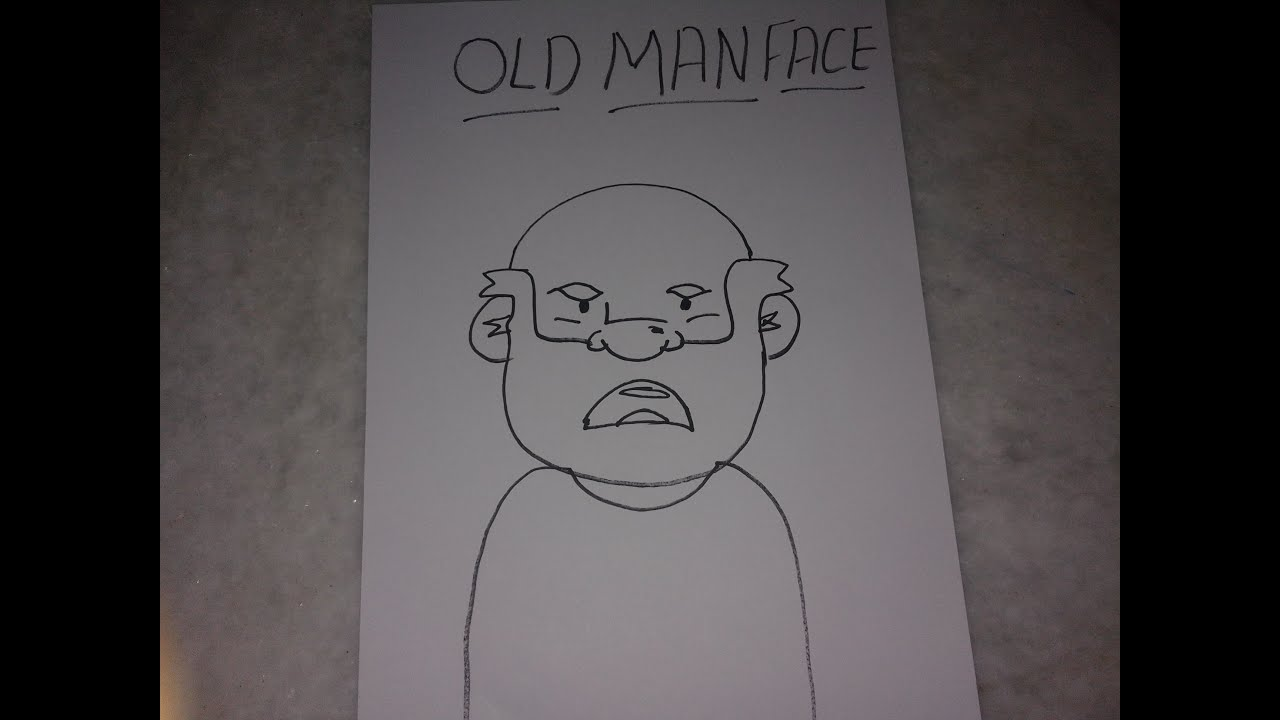 Old Man Face Drawing For Kids Youtube