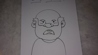 Old Man Face - Drawing for Kids