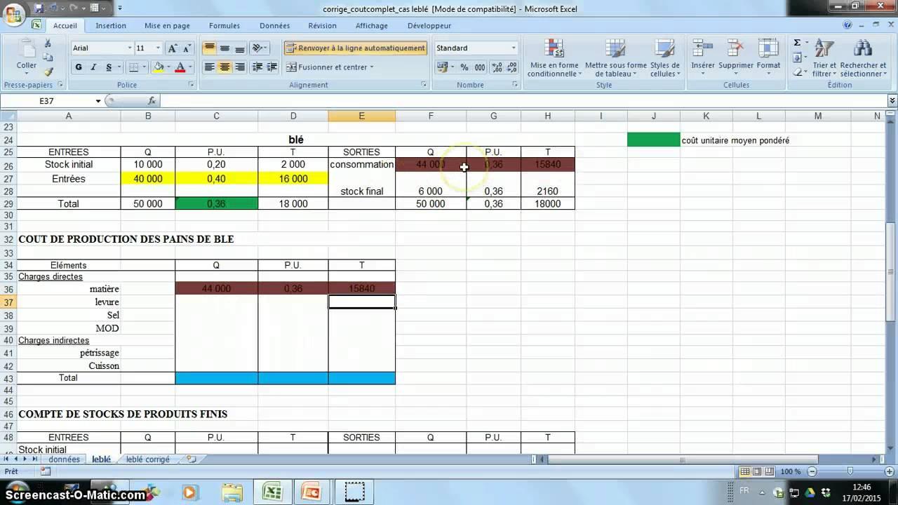 Methode Calcul Cout De Revient Et Ra Youtube