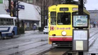 熊本市交通局1200形(1203ほっかほっか亭)と1350形(1352)