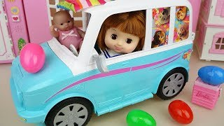 Baby doll picnic car toys and surprise eggs Baby doli play